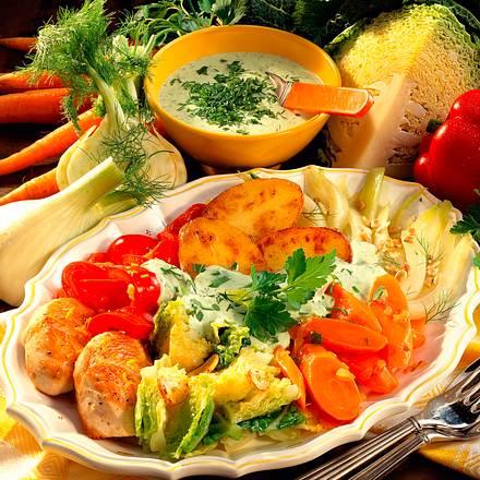 Gemüse mit Ofenkartoffeln und Kräuter-Quark-Soße Rezept