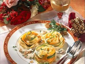 Gemüse-Nudelnester mit Gorgonzola-Soße Rezept
