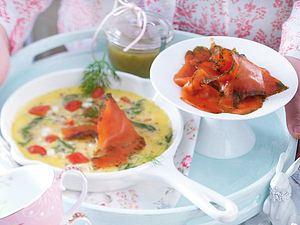 Gemüse-Omelett und Graved Lachs Rezept