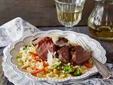 Gemüse-Risotto mit glasiertem Balsamico-Schweinefilet Rezept
