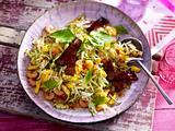 Gemüse-Shrimps-Salat mit karamellisiertem Tofu Rezept