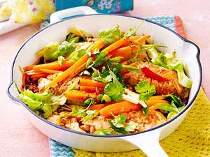 Gemüsepfanne mit Lachs Rezept