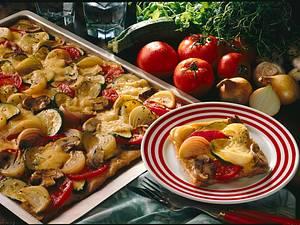 Gemüsepizza vom Blech Rezept