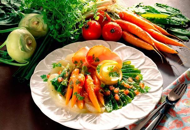 Gemüseplatte mit Putenbrust Rezept