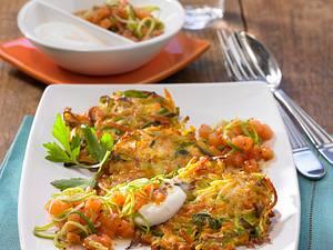 Gemüsepuffer mit Lachs-Lauch-Tatar Rezept