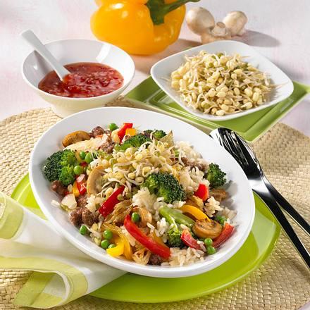 Gemüsereis mit Bohnen-Keimlingen Rezept