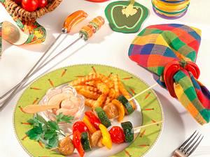 Gemüsespieße mit Sourcreme und Pommes Rezept