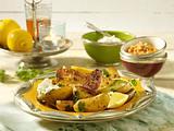 Geschmorte Koriander-Kartoffeln mit zwei Dips Rezept