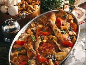 Geschmortes Hähnchen mit gemischten Pilzen (frische Steinpilze) Rezept