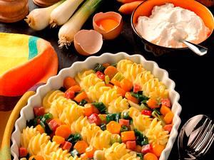 Gespritztes Püree und Gemüse Rezept