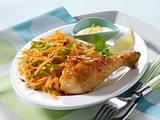 Glasierte Hähnchenkeule zu Möhren-Rohkost und Joghurtdip Rezept