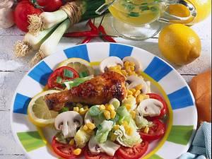 Glasierte Hähnchenunterkeule auf Salat Rezept