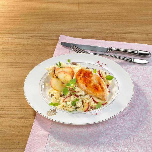 Glasiertes Hähnchenfilet auf Maronen-Risotto Rezept