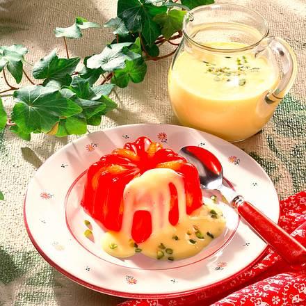 Götterspeise mit Mandarinen und Vanille-Soße Rezept
