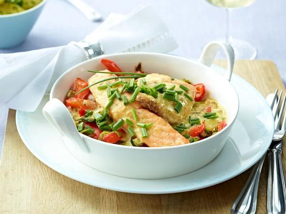 Gratin von Edelfischen auf Paprika-Porree-Gemüse Rezept