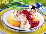 Gratinierte Pfirsiche mit Amaretti-Mandel-Baisermantel Rezept