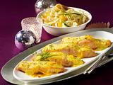 Gratinierter Lachs mit Gemüsenudeln Rezept