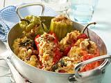 Griechisch gefülltes Gemüse (Paprika und Fleischtomaten) Rezept