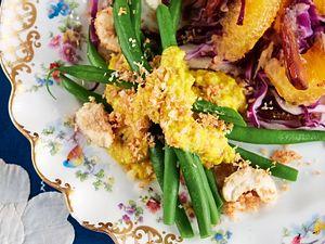 Grüne Bohnen mit Chashewsoße und Rotkohlsalat Rezept