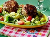 Grüner Kartoffelsalat mit Cordon bleu-Frikadellen Rezept
