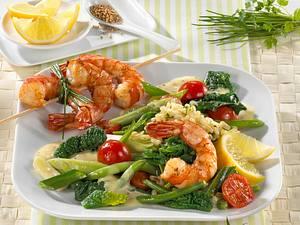 Grünes Gemüse mit Garnelen Rezept