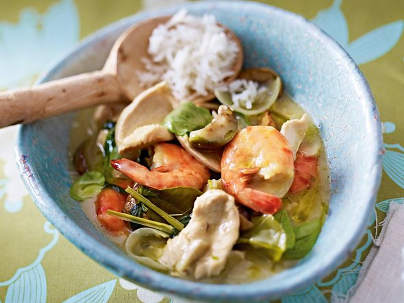 Grünes Hähnchen-Curry mit Garnelen Rezept