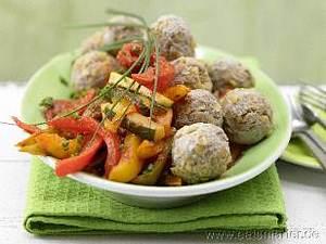 Hackfleisch-Linsen-Bällchen mit Paprikagemüse Rezept