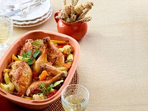 Hähnchen auf Herbstgemüse aus dem Römertopf Rezept
