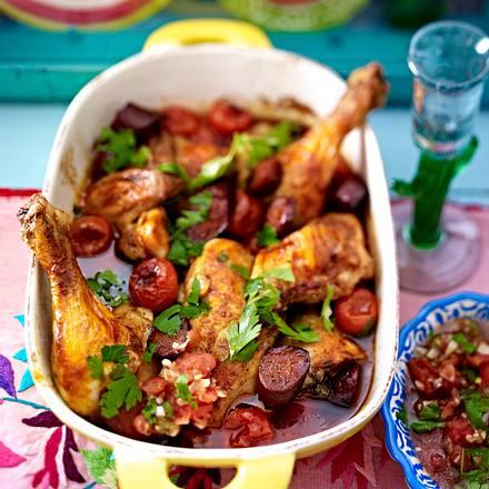 Hähnchen mit Chorizo und Jalapeño-Salsa Rezept