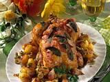 Hähnchen mit Salbei-Speck-Kruste und Oliven-Gemüse Rezept