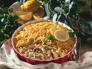 Hähnchen-Ragout mit Spaghetti-Kruste Rezept