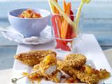 Hähnchen- und Gemüsesticks zu Tomaten-Aprikosen-Dip Rezept