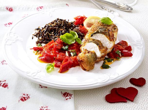 Hähnchenbrüste an rotem Gemüse und Wildreis Rezept