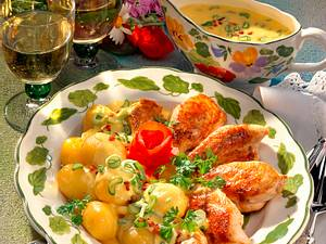Hähnchenbrust mit Zwiebel-Hollandaise Rezept