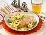Hähnchenfilet auf Gemüse-Nudeln Rezept
