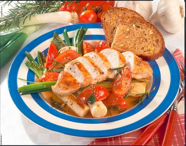 Hähnchenfilet mit geschmorten Tomaten und Lauchzwiebeln Rezept