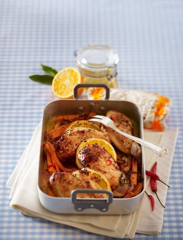 Hähnchenfilet und Orangenmöhren aus dem Ofen Rezept