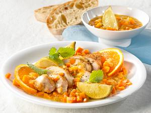 Hähnchenfilets in Orangen-Möhrensoße Rezept