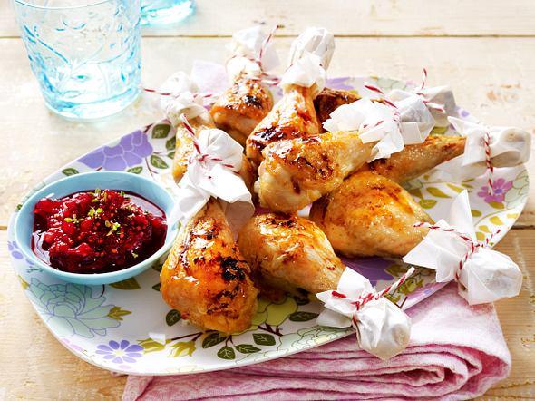 Hähnchenkeulen mit Johannisbeer-Chutney Rezept