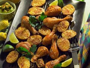 Hähnchenkeulen & Sesam-Kartoffeln Rezept