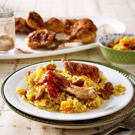 Hähnchenkeulen zu Curryreis Rezept