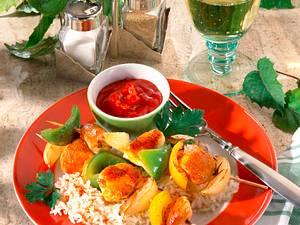 Hähnchenschaschlik mit Basmatireis Rezept