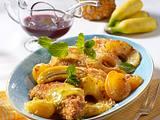 Hähnchenschnitzel in Kokospanade mit gebratenen Früchten Rezept