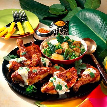 Hähnchenteile mit Tandoori und Gemüse Rezept