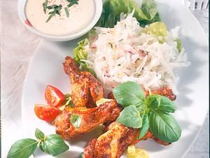 Hähnchenunterkeulen mit Salat und Dip Rezept