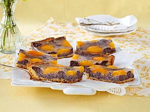 Hefe-Mohnkuchen mit Aprikosen Rezept