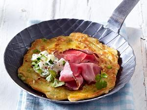 Herzhafte Küchlein mit Erbsen (vier mal anders) zu Gurken-Salat und Roastbeef Rezept