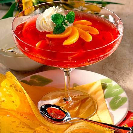 Himbeer-Götter Speise mit Pfirsichen (Diabetiker) Rezept
