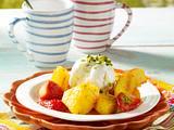 Honig-Früchte vom Grill mit Zitronensorbet Rezept