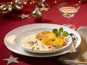 Honig-Sabayon mit Ananas und Granatapfelkernen Rezept